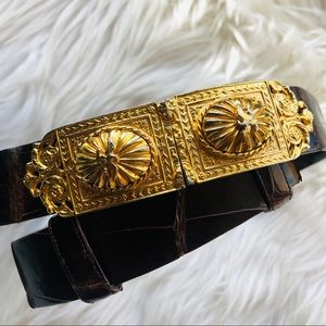 Judith Lieber Vintage Leather & Gold Buckle Belt